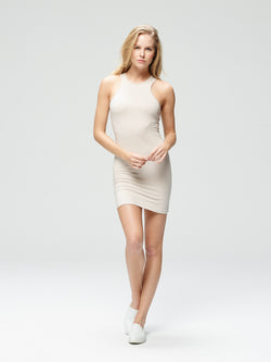 Vivacious Slim Fit Dress Charcoal Oatmeal