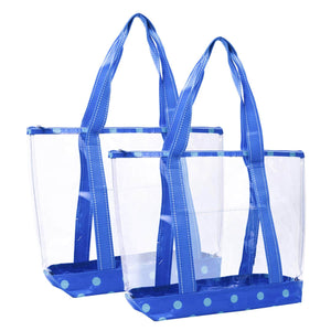 2 Packs Large Clear Bag, Transparent PVC Tote Bag with Zipper - Cyan - Veno