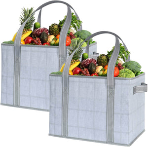 2-Pack Reusable Grocery Shopping Bag, Heavy Duty Tote with Reinforced Bottom - Gray/Windowpane - Veno