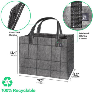 2-Pack Reusable Grocery Shopping Bag, Heavy Duty Tote with Reinforced Bottom - Horizontal - Veno Bags