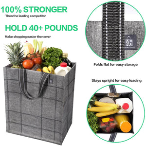 2-Pack Reusable Grocery Shopping Bag, Heavy Duty Tote with Reinforced Bottom - Vertical