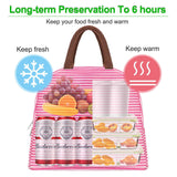 Insulated Lunch Bags, Water-Resistant and Durable - RED/WHT - Veno
