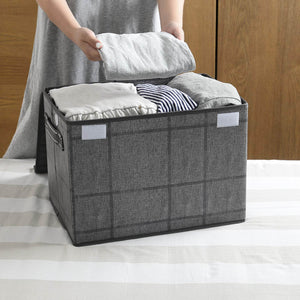 2 Pack Foldable Large Storage Bins, Collapsible Cubes - Black/Windowpane -  Veno
