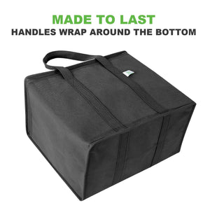 Insulated Reusable Grocery Bag, Durable, Collapsible, Eco-Friendly - Black - Veno