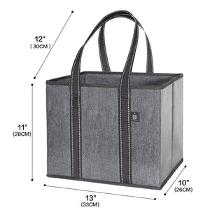 3-Pack Reusable Grocery Shopping Bag, Heavy Duty Tote with Reinforced Bottom - Gray/Glossy - Veno