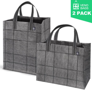 2-Pack Reusable Grocery Shopping Bag, Heavy Duty Tote with Reinforced Bottom - (Set of 2, Mix) - Veno Bags