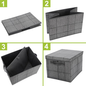 3-Pack Foldable Storage Bin with Lid, Sturdy Storage Box, Closet Organizer - Black/Windowpane - Veno