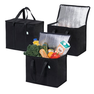 Insulated Reusable Grocery Bag, Durable, Collapsible, Eco-Friendly - Black