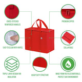 Insulated Reusable Grocery Bag, Durable, Collapsible, Eco-Friendly - Red
