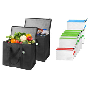 2 Insulated Reusable Grocery Bags, 9 Produce Bags - Black - Veno