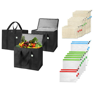 3 Insulated Reusable Grocery Bags, 9 Cotton Produce Bags, 9 Polyester Mesh Bags - Black - Veno