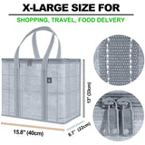 2 Pack Insulated Reusable Grocery Bag, Collapsible, Eco-Friendly - Gray/Windowpane - VenoBag