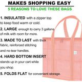 2 Pack Insulated Reusable Grocery Bag, Collapsible, Eco-Friendly - Pink/Windowpane - VenoBag