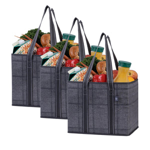 3-Pack Reusable Grocery Shopping Bag, Heavy Duty Tote with Reinforced Bottom - Black/Windowpane - Veno