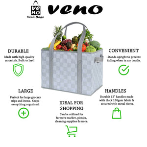 2-Pack Reusable Grocery Shopping Bag, Heavy Duty Tote with Reinforced Bottom - Gray/Checker - Veno