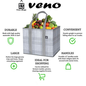 3-Pack Reusable Grocery Shopping Bag, Heavy Duty Tote with Reinforced Bottom - Gray/Plaid - Veno Bags