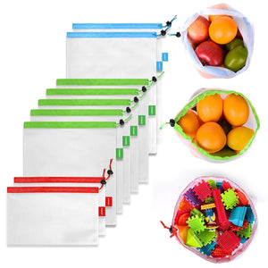 Reusable Mesh Produce Bags, Transparent Lightweight, BPA Free, Set of 9 - Veno