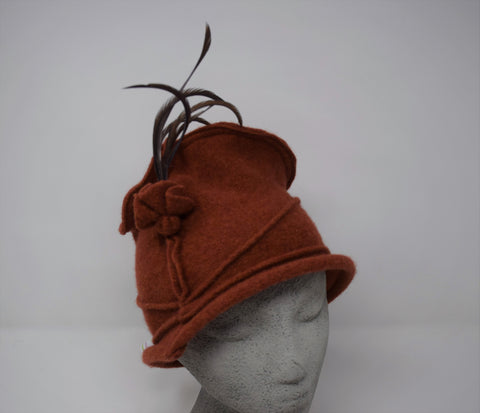 Trilby 100% Irish wool Rust hat w. Feather