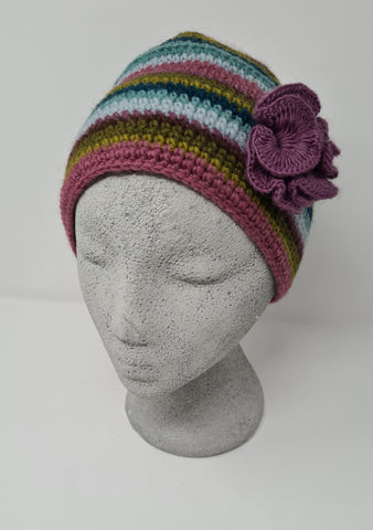 Crochet wool stripy hat with removable flower corsage