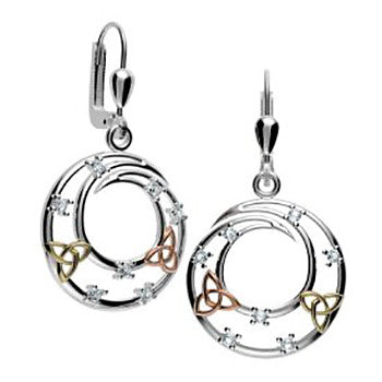 Celtic Spiral Drop Earrings in Sterling Silver