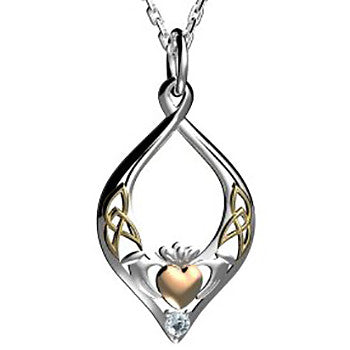 Claddagh Pendant in Sterling Silver with Rose Gold & Yellow Gold