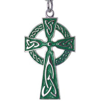 Sterling Silver Green Emerald Cross