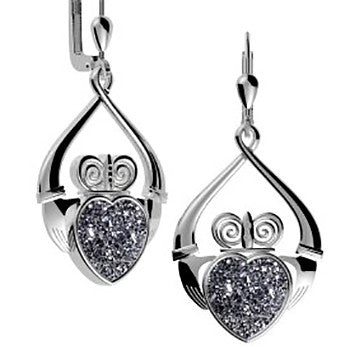 Claddagh Drusy Quartz Sterling Silver Drop Earrings