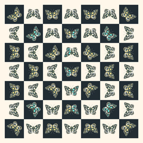 Checkerboard Butterfly Silk Scarf