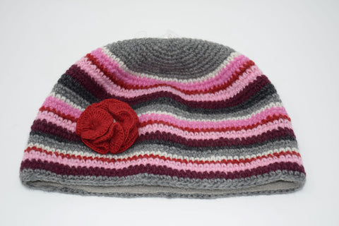 Irish Wool Crochet Stripy Hat in Pinks & Greys