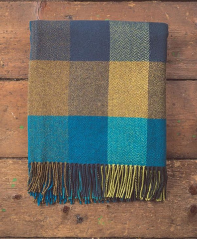 Foxford - Teal & Gold Check/Plaid Throw