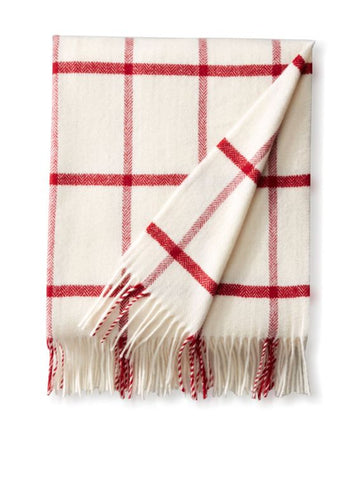 Foxford - Natural White & Red Windowpane Throw