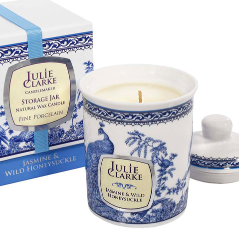 Jasmine & Wild Honeysuckle Soy Wax Candle by Julie Clarke - Porcelain Peacock Storage Jar
