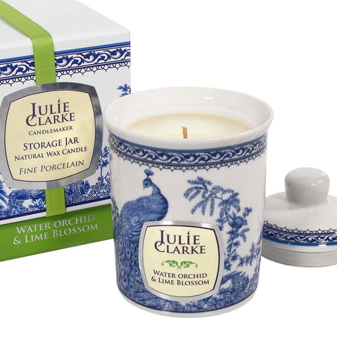 Water Orchid & Lime Blossom Soy Wax Candle by Julie Clarke - Porcelain Peacock Storage Jar