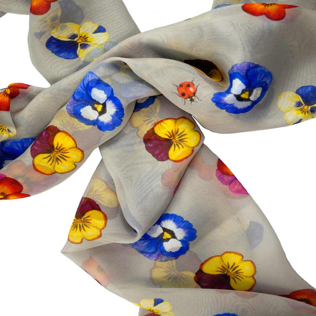 A Friendship of Pansies Silk Scarf
