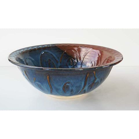 Castle Arch Pottery Large Caspian Blue Salad Bowl