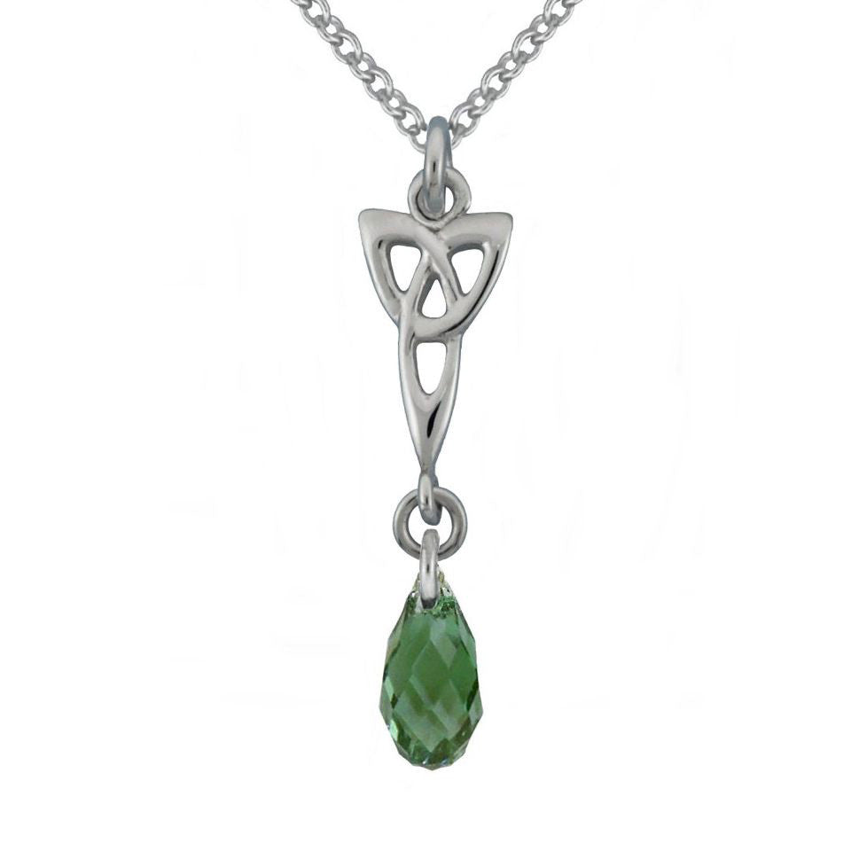 Celtic Trinity Knot Pendant with Swarovski Green Crystal