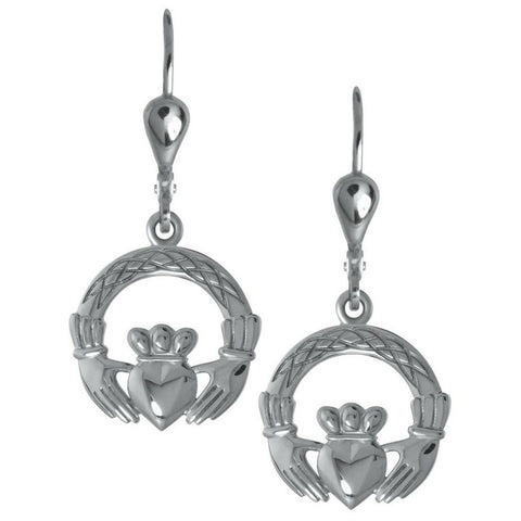 Claddagh Weave Sterling Silver Drop Earrings