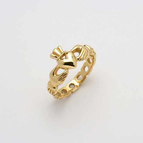 Claddagh Ring 14K Gold Pierced (Ladies)