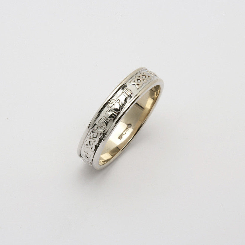Corrib Claddagh 14k White Gold Band