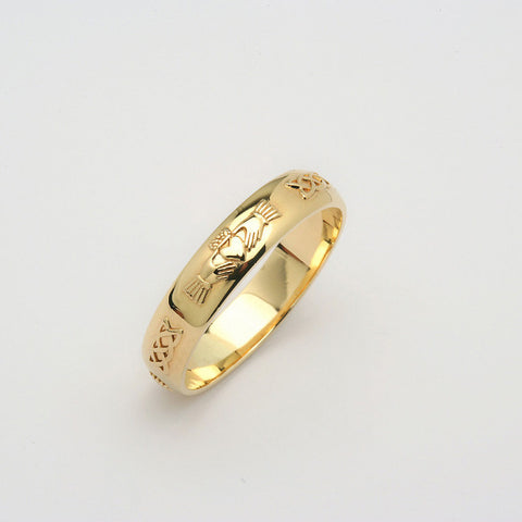 Corrib Claddagh 14k Yellow Gold Wedding Band