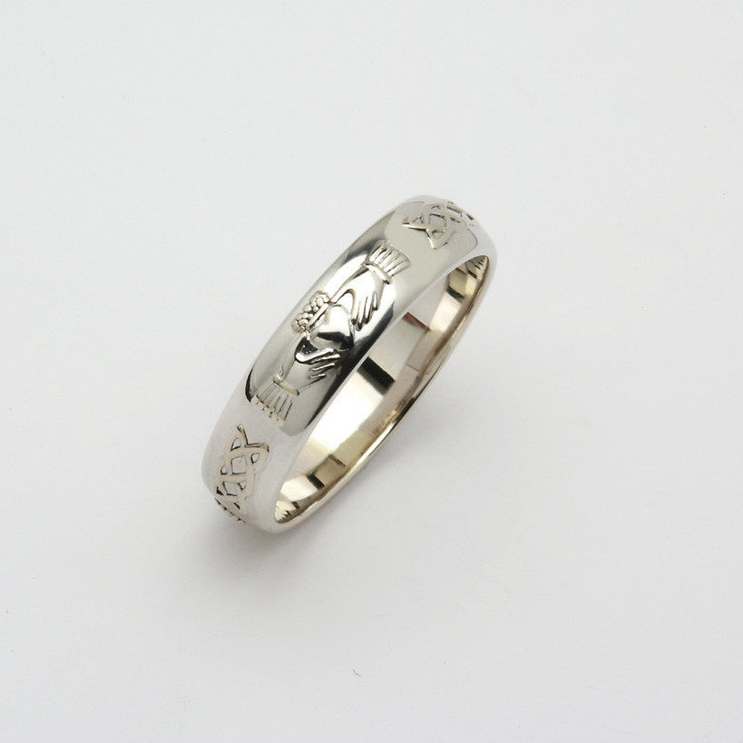 Corrib Claddagh 14k White Gold Wedding Band