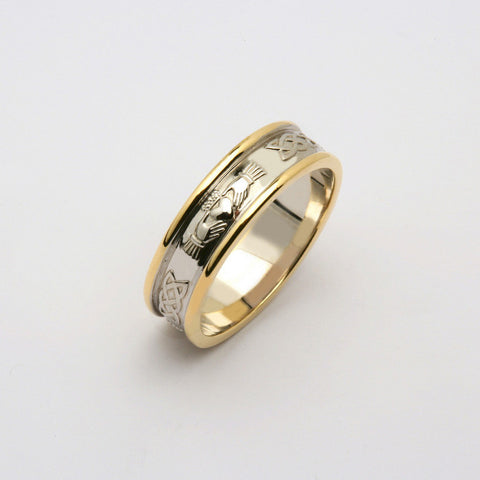 Corrib Claddagh 14k Gold Two Tone Wedding Band
