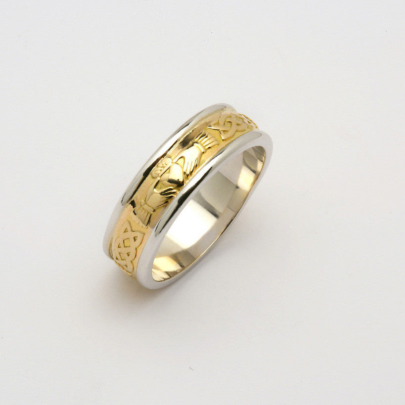 Corrib Claddagh 14k Gold Two Tone Yellow inner Wedding Band
