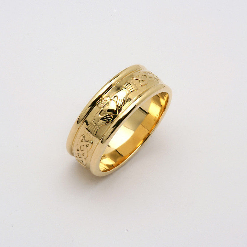 Corrib Claddagh 14k Yellow Gold Wide Band