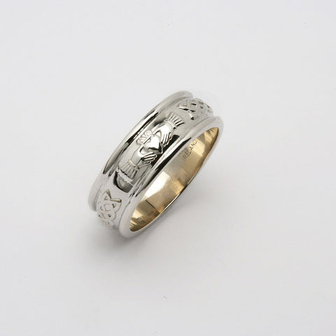 Corrib Claddagh 14k White Gold Wide Band