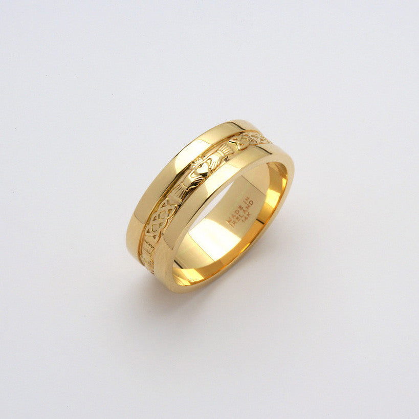 Corrib Claddagh 14k All Yellow Gold Wide Side Band
