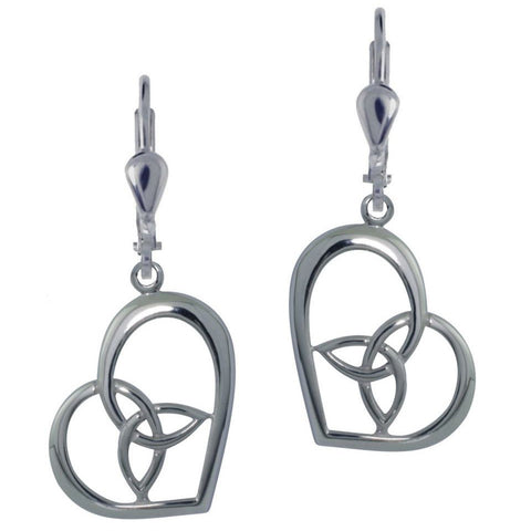 Elegant Heart with Trinity Knot Sterling Silver Drop Earrings