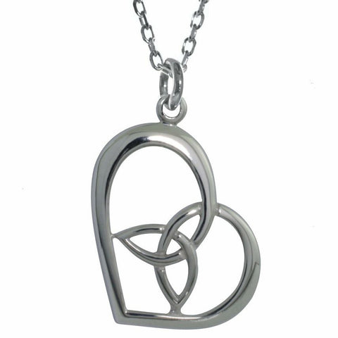 Elegant Heart with Trinity Knot Sterling Silver Pendant