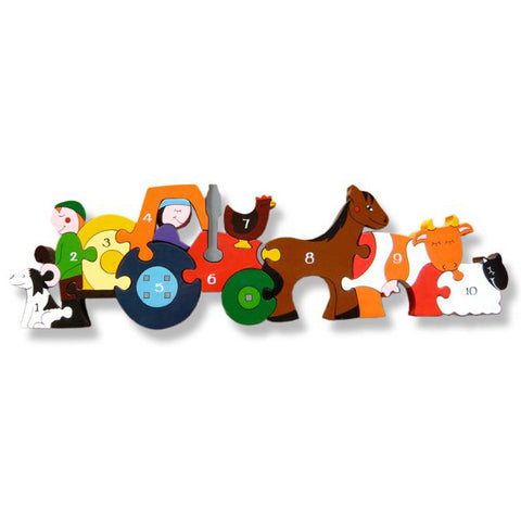 Farm Numbers Wooden Row Puzzle