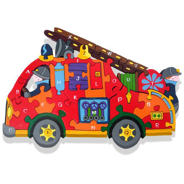 Fire Engine Alphabet Wooden Jigsaw Puzzle